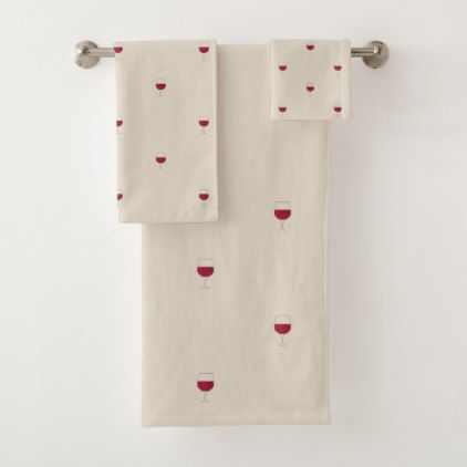 Glass Of Red Wine Bath Towel Set Zazzle Com With Images Wine