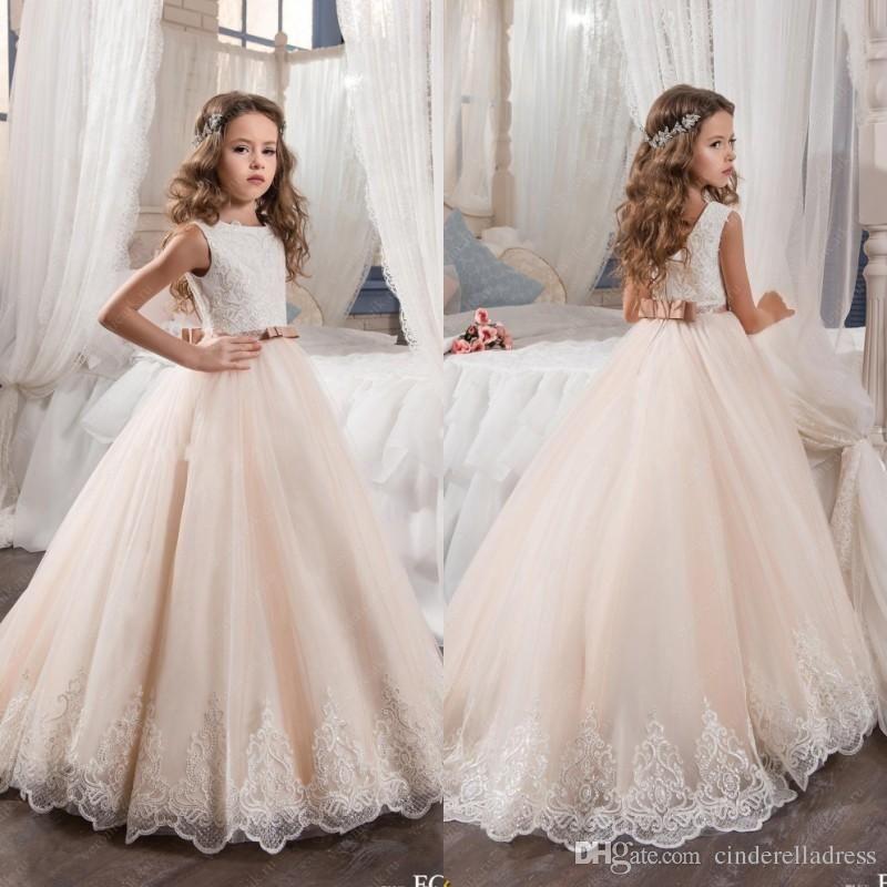 2017 Vintage Flower Girl Dresses For Weddings Blush Pink Custom Made ...