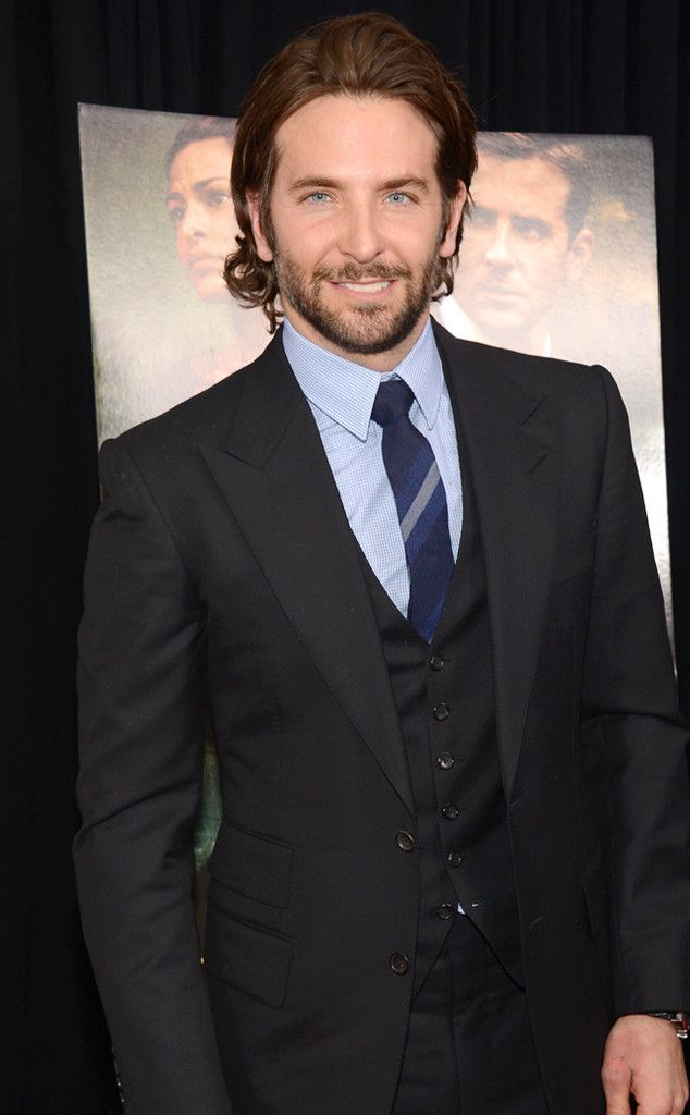 Bradley Cooper wearing Black Three Piece Suit, Light Blue Dress ...