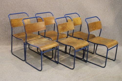 METAL STACKING CHAIRS VINTAGE RETRO INDUSTRIAL WITH BLUE FRAME AND PLYWOOD  SEATS | EBay