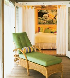 LOVE THIS Bedroom Sitting Area Key West Vintage Cottage Lime Green Antique Lounger Bold Toucan Print Tropical Decor Beachy