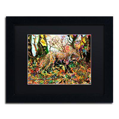 "Trademark Art 'Mozilla Fox' Framed Painting Print Mat Color: Black, Size: 11"" H x 14"" W x 0.5"" D"