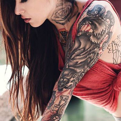 wolf tattoo design on full arm ink pinterest wolf tattoo design wolf tattoos and tattoo. Black Bedroom Furniture Sets. Home Design Ideas