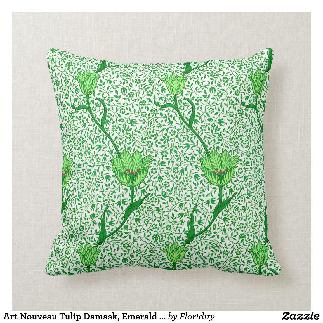 Art Nouveau Tulip Damask, Emerald Green Throw Pillow