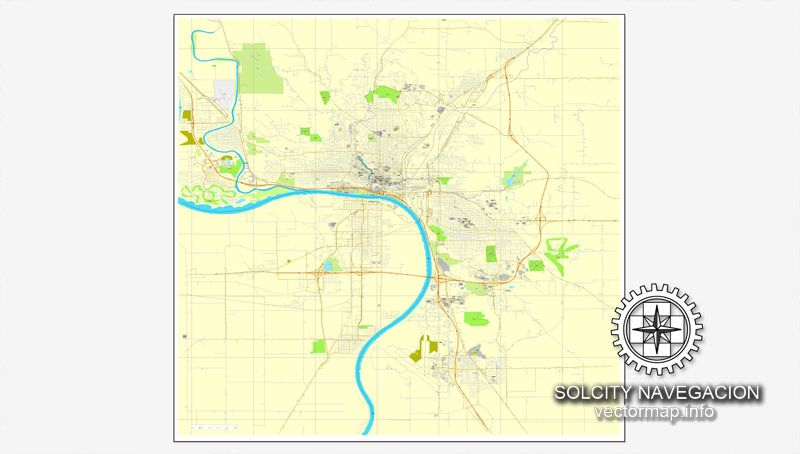 Sioux City Iowa Us Printable Vector Street City Plan Map Full