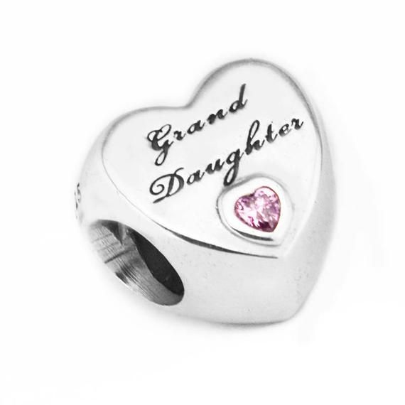 a5557212b Granddaughter's Love Charm, 100% 925 Sterling Silver with Pink Cubic  Zirconia Charm Fits to all Pan