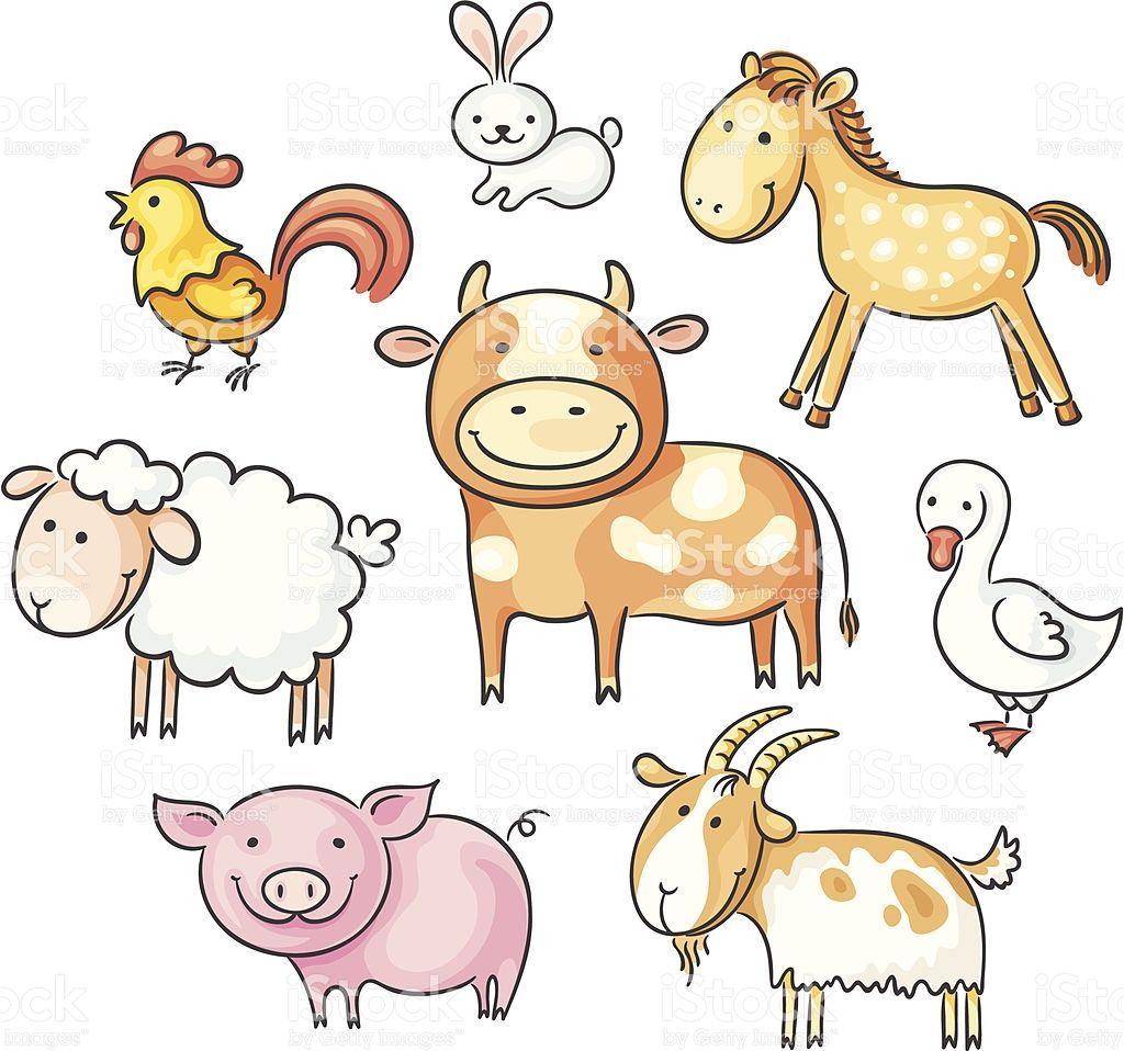 A set of cartoon farm animals, no gradients. Baby farm