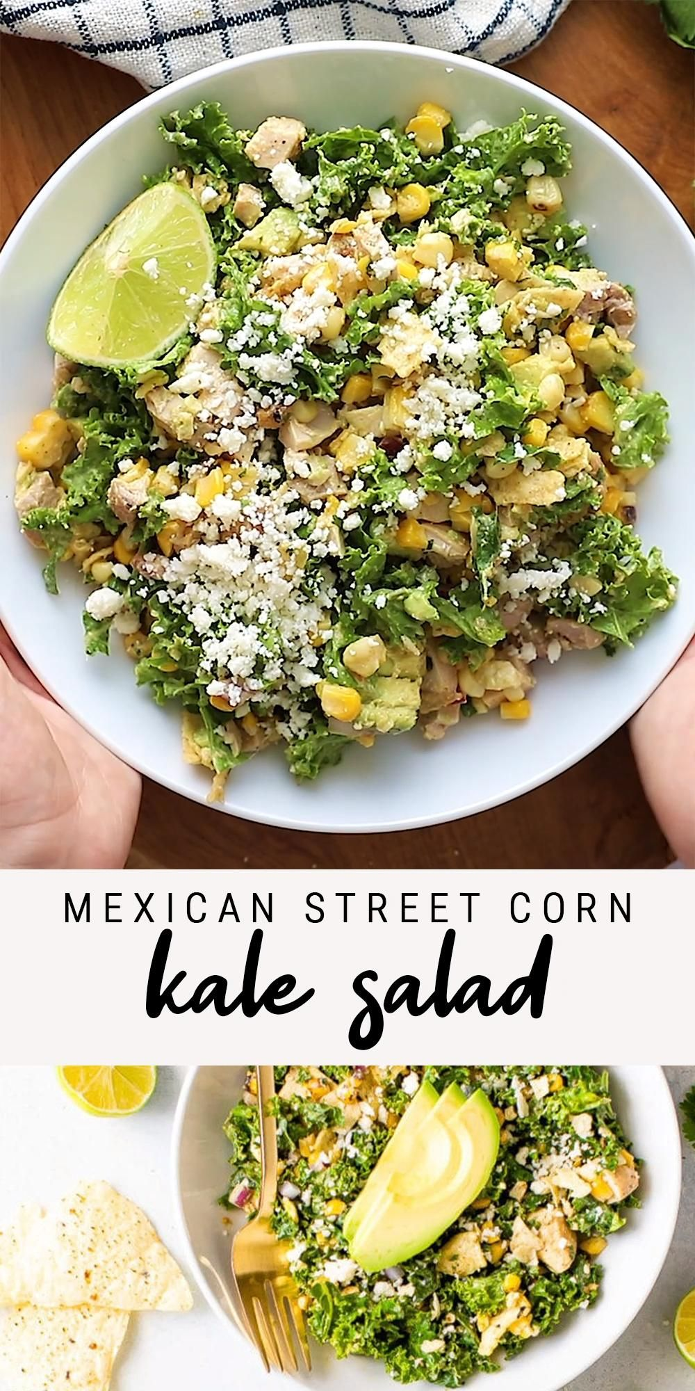 Mexican Street Corn Kale Salad with Grilled Chicke