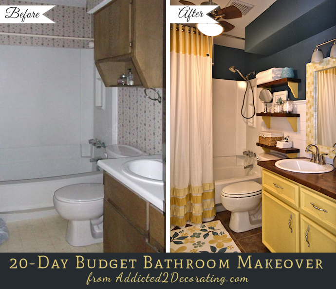 Bathroom Makeovers Inexpensive 20-day small bathroom makeover – before and after | small bathroom