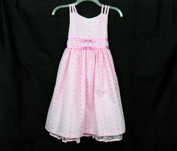 Girls Easter Dress Size 8.  Pink and White Gingham Check.  Available on ebay.