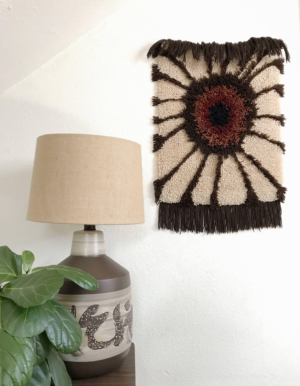"1960s ""hairy eyeball"" tapestry / vintage rya rug wall hanging by EarthshipVintage on Etsy"