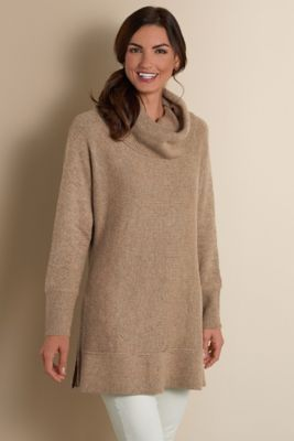 Side Zip Sweater I Cowl Neck Tunic Cowl Neck Sweater