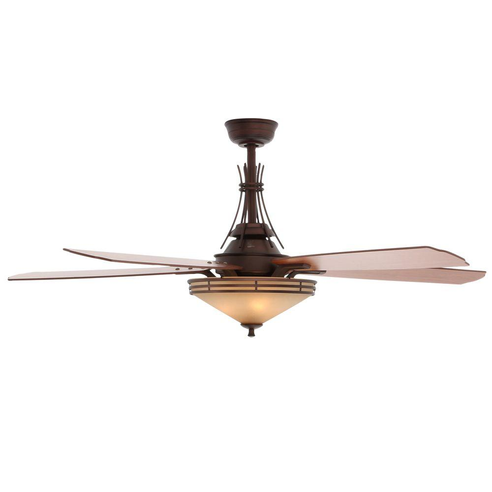 Hampton Bay Miramar Ii 60 In Indoor Oil Brushed Bronze Ceiling Fan With Light Kit And Remote Control