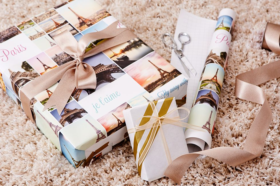 Surprising someone with a special spring vacation? Create your own custom wrapping paper to help you pop the question.