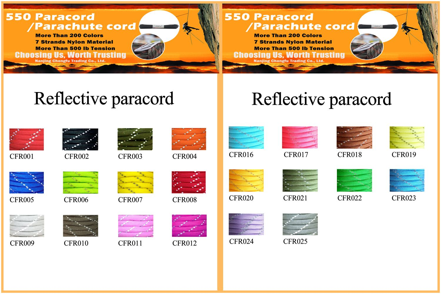 Reflective 550 Paracord Color Chart 550 Paracord Paracord Reflective