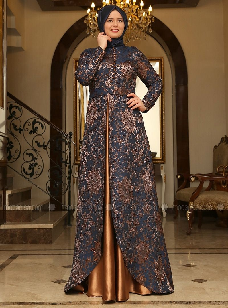 Brocade Evening Dress - Navy Blue - Copper - Saliha | Evening dresses,  Hijab evening dress, Dresses
