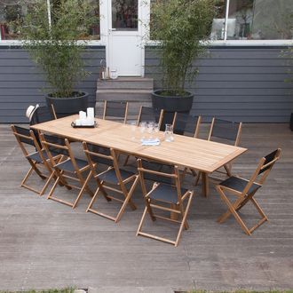 Salon de jardin 10 places : 1 table extensible 210/300cm en Acacia ...