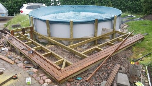 Intex Above Ground Pool Decks starting to build my own pool deck for intex ultra pool | intex