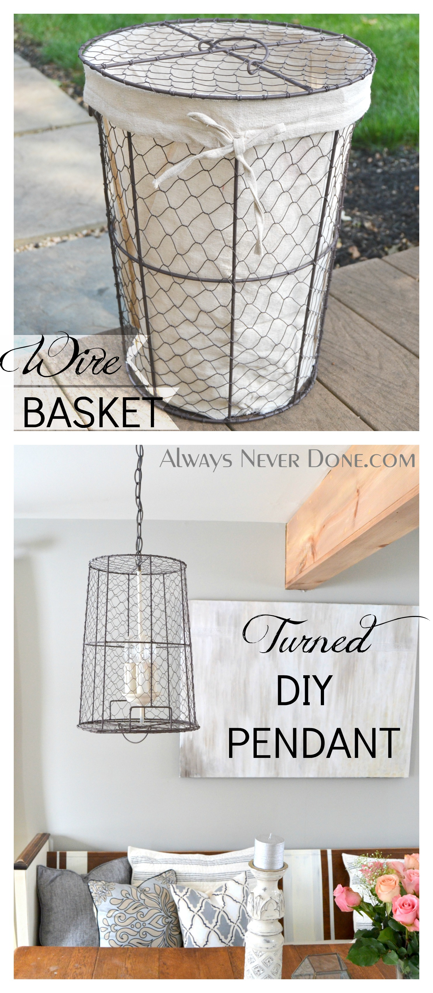 Take a wire basket and some old lighting and turn it into Re ...