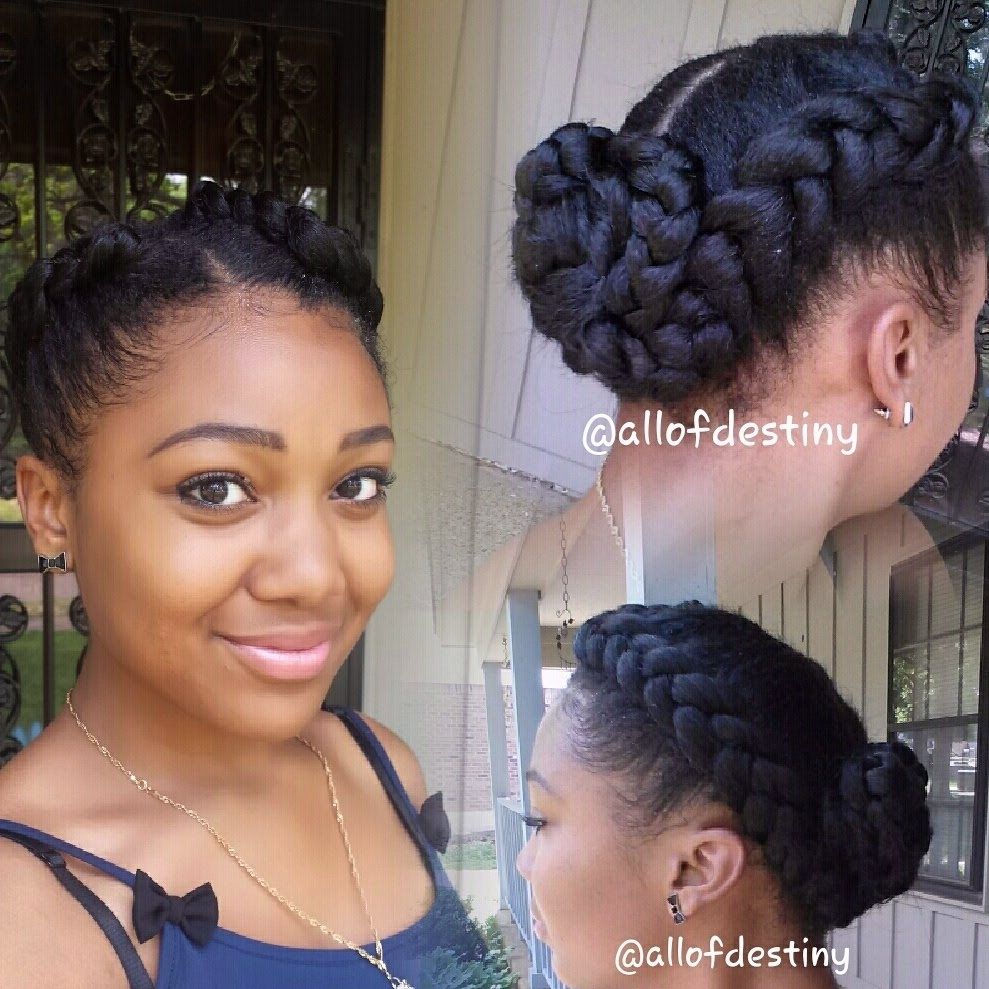two braid hairstyles – two braids into a low braided bun