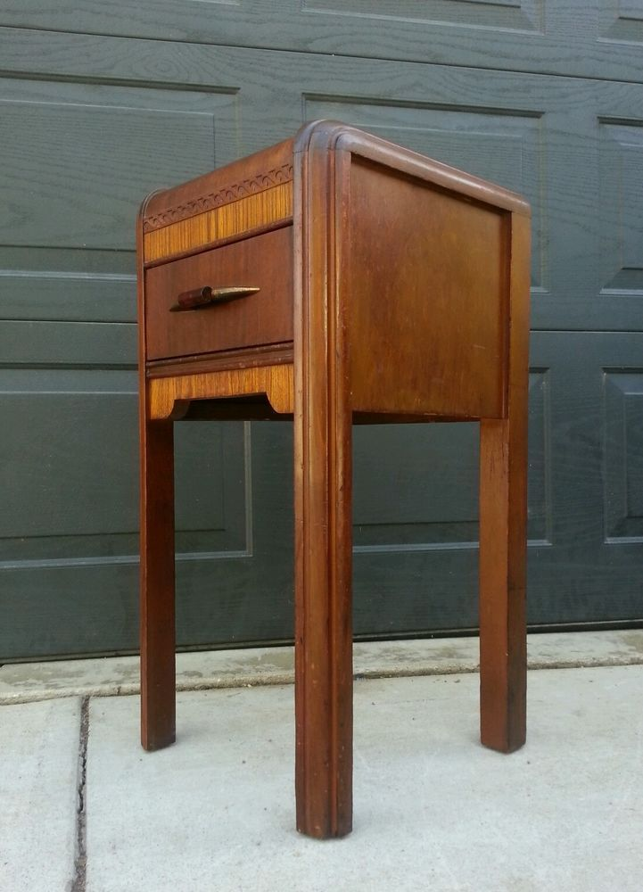 Vintage art deco waterfall nightstand w bakelite drawer for Waterfall design nightstand