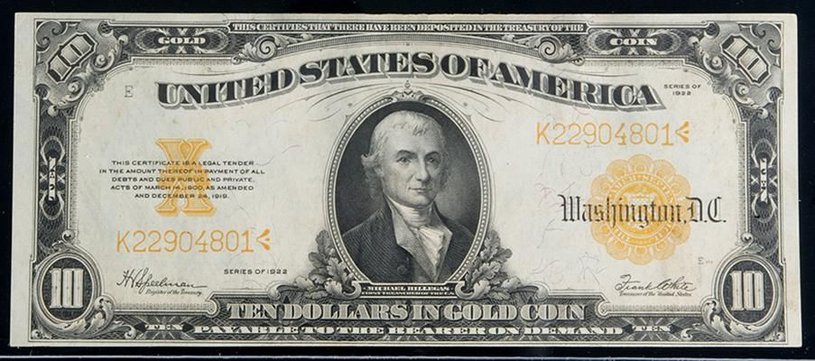 1922 10 Gold Certificate Pcgs About New 53 Pleasing And Fully