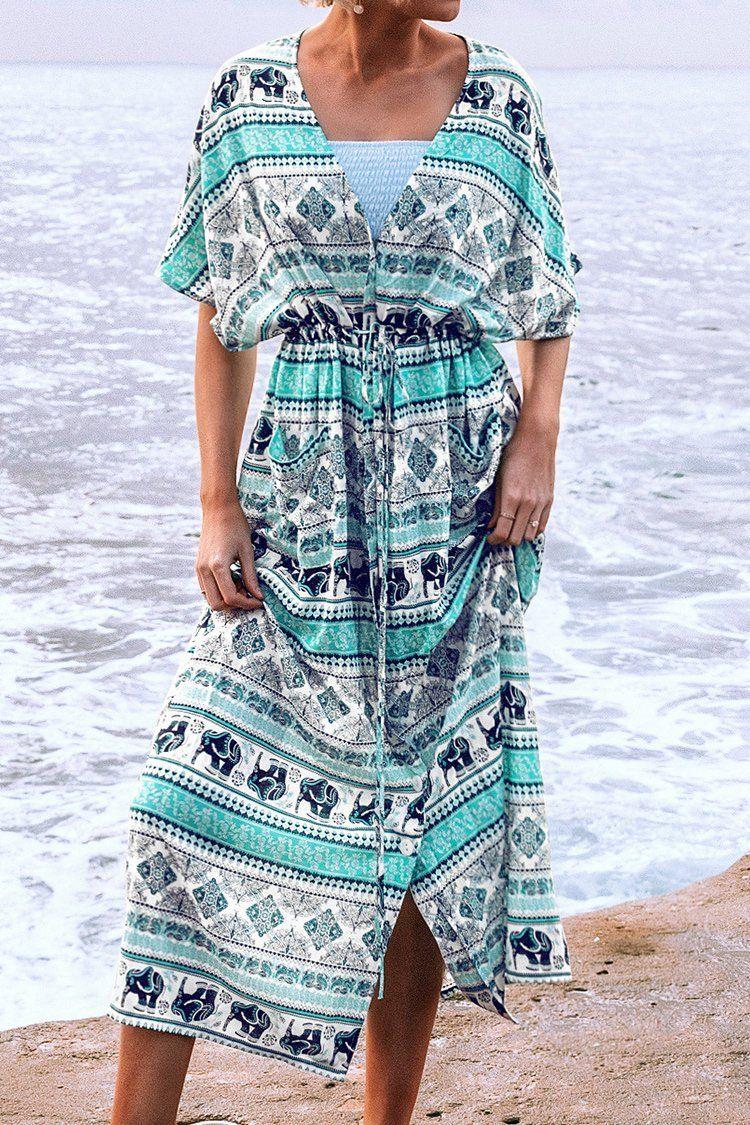 Elephant Print Drawstring Midi Dress Drawstring Midi Dress Floral Print Short Dress Printed Short Dresses [ 1125 x 750 Pixel ]