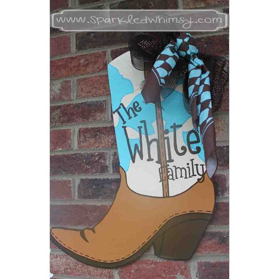 Western Cow Or Cowboy Boot Door Hanger Sign On Etsy 40 00