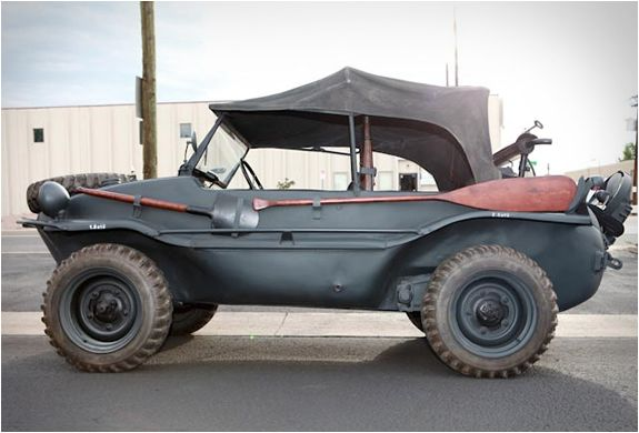 1943 WW2 VW Schwimmwagen - The VW Type 128 & 166 Schwimmwagen (literally Floating / Swimming Car) were amphibious 4-wheel drive off-roaders, used extensively by the German Wehrmacht & the Waffen-SS during WW2. The Type 166 is the most numerous mass-produced amphibious car in history.