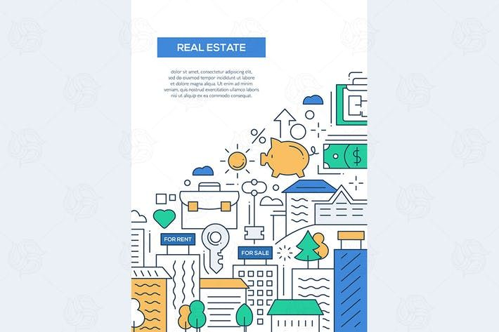 Real Estate - line design brochure poster template by decorwm Art