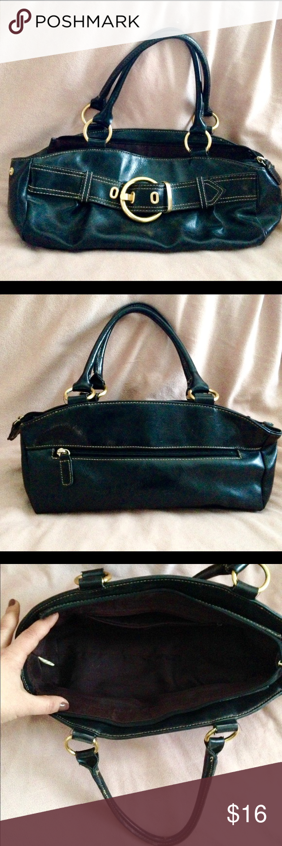 "Black Medium Shoulder Bag Black Medium Sized Shoulder Bag - one zippered pocket on the inside and one zippered pocket on the outer backside. Gold loops on the straps with a Gold ""belt type"" buckle in the front. Also has snaps on the outer sides. Really Great Condition. Three Stars Bags Shoulder Bags"