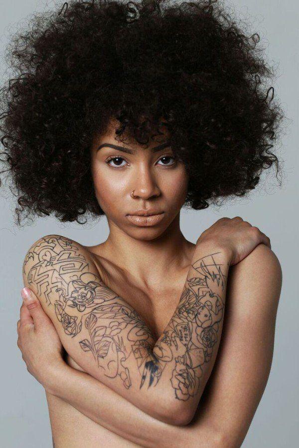 Black girl covering her boobs #4