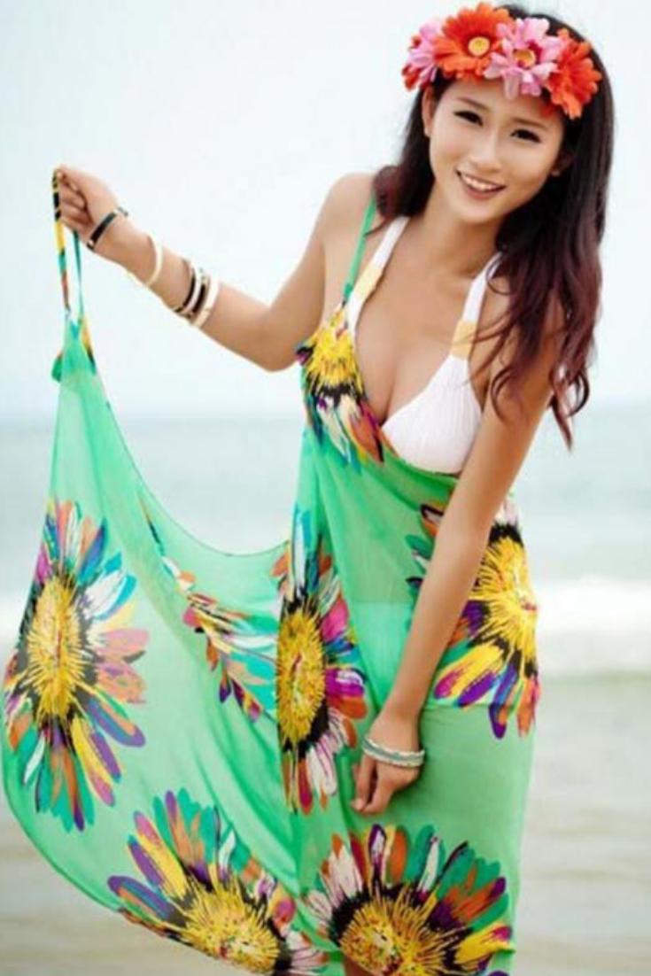 598bd0b655 Chiffon Bikini Sarong Beach Wrap Women Bikini swimsuit printing smock,Sexy  chiffon beach towelCan be used as a casual wear at home, after bathing wear,very  ...