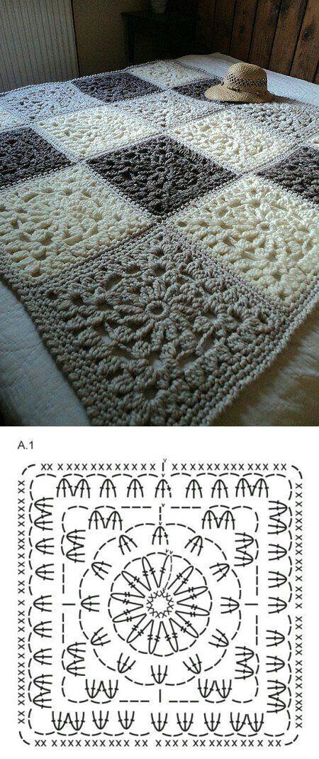 Very chic grannies Cuadrados elegantes | Tejidos crochet y 2 agujas ...