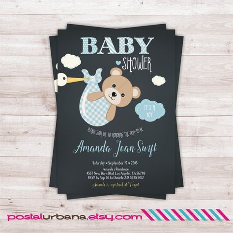 Bear Baby Shower Invitation Boy