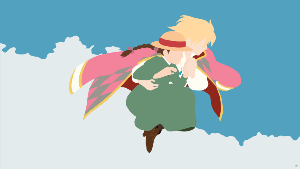 Howl And Sophie Minimalist Wallpaper Howl And Sophie Howls Moving Castle Wallpaper Studio Ghibli Art
