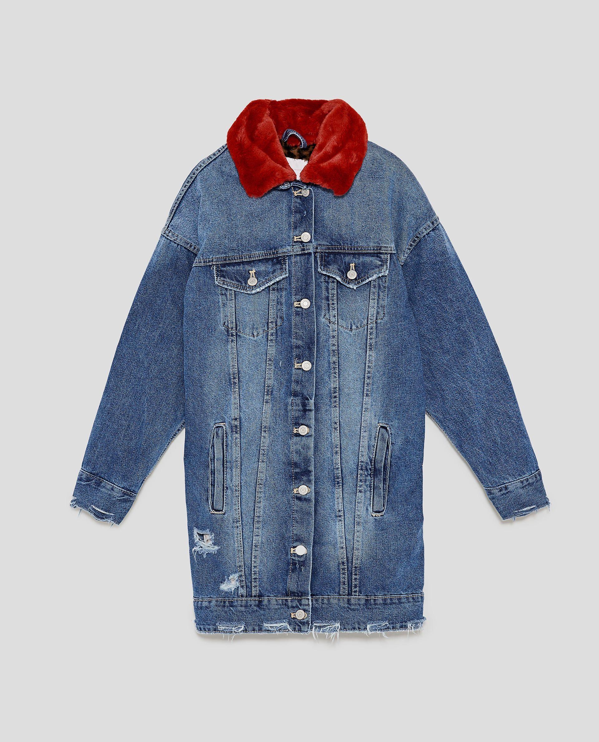Image 8 Of Long Denim Jacket With Faux Fur Collar From Zara Long Denim Jacket Jackets Denim Jacket [ 2379 x 1920 Pixel ]