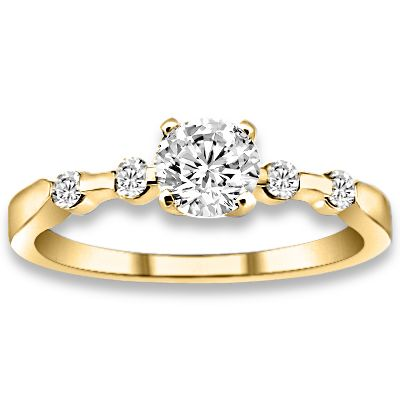 0.62 ctw 14k YG Natural I-J Color, VS - SI  Clarity, Accent Diamonds Engagement Ring