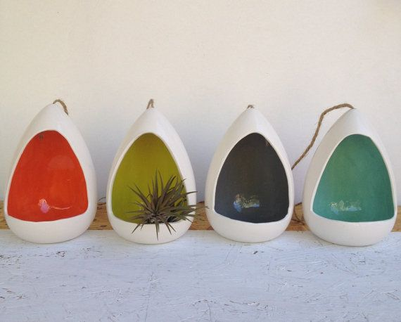Hanging Planter Ceramic With A Pop Of Color Planters