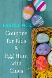 24 Printable Easter Coupons for Kids  Teens 24 Printable Easter Coupons for Kids  Teens  Frugal No Candy Easter Basket ideas and egg stuffers  Printable Easter coupons fo...