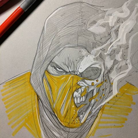 Quick Sketch Of Scorpion From Mortal Kombat Basing On The First