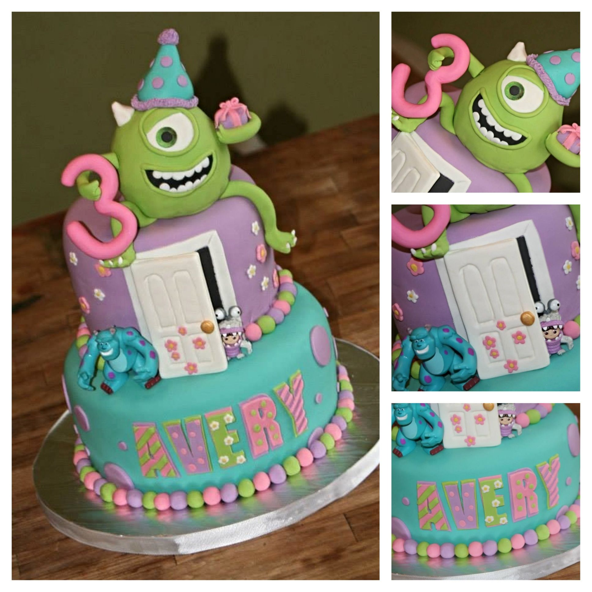 Pleasing Monsters Inc Cake With Images Monster Inc Cakes Birthday Personalised Birthday Cards Epsylily Jamesorg