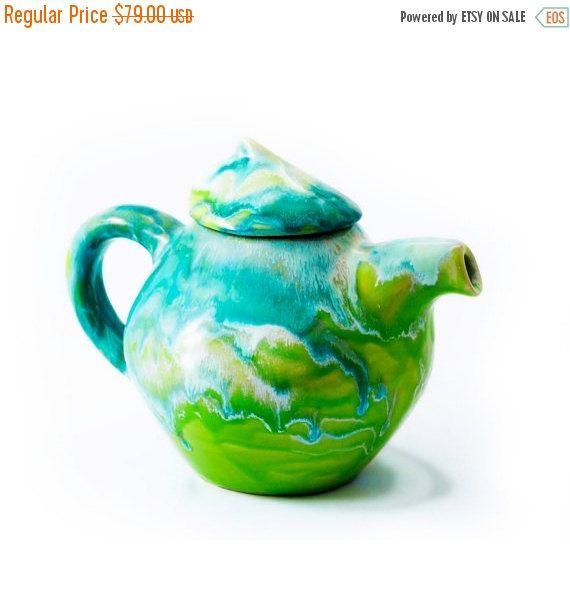 sale coffee pot coffe kettle green pot pottery ceramic by artmika tea pots teapots unique on kaboodle kitchen navy id=60779