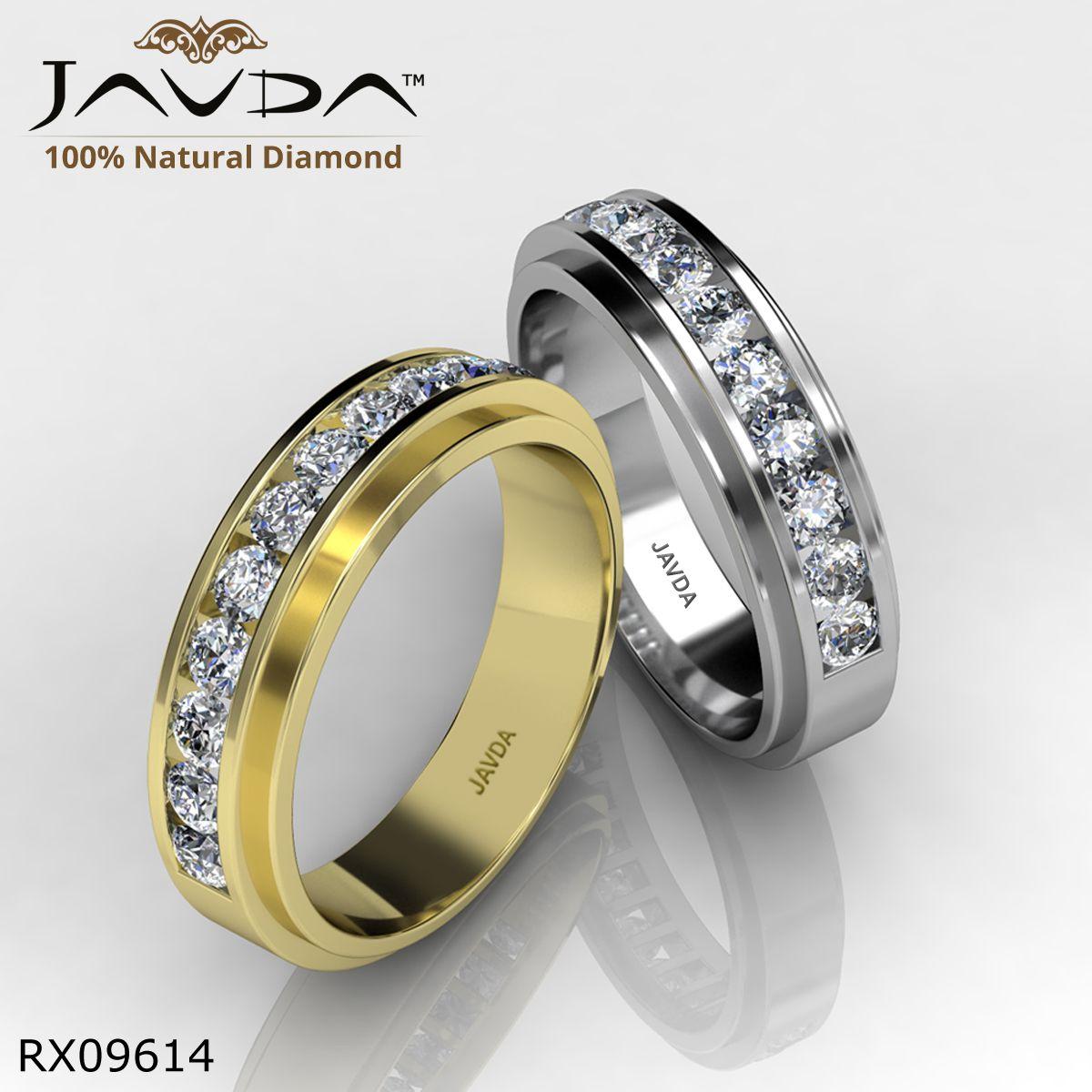 Round Diamond Mens Half Wedding Band Ring made in 14k