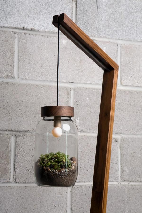 Side View Of Standing Lamp With Hanging Potted Plant Shade Diy Floor Lamp Beautiful Floor Lamps Floor Lamp Shades