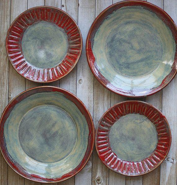 vajilla r stica para dos par de cubiertos en salvia verde On vajilla de ceramica rustica