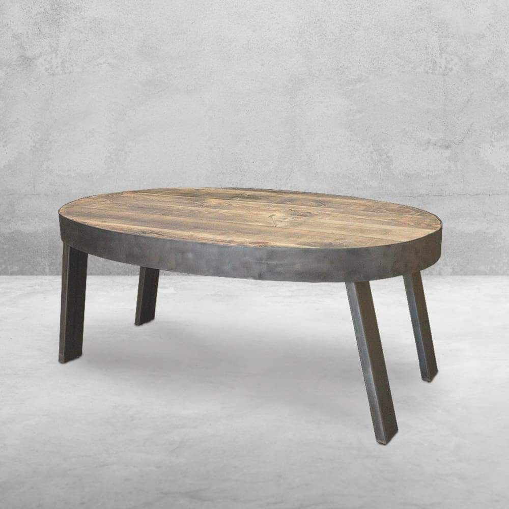 Oval Coffee Table Reclaimed Wood Industrial Oval Coffee Tables