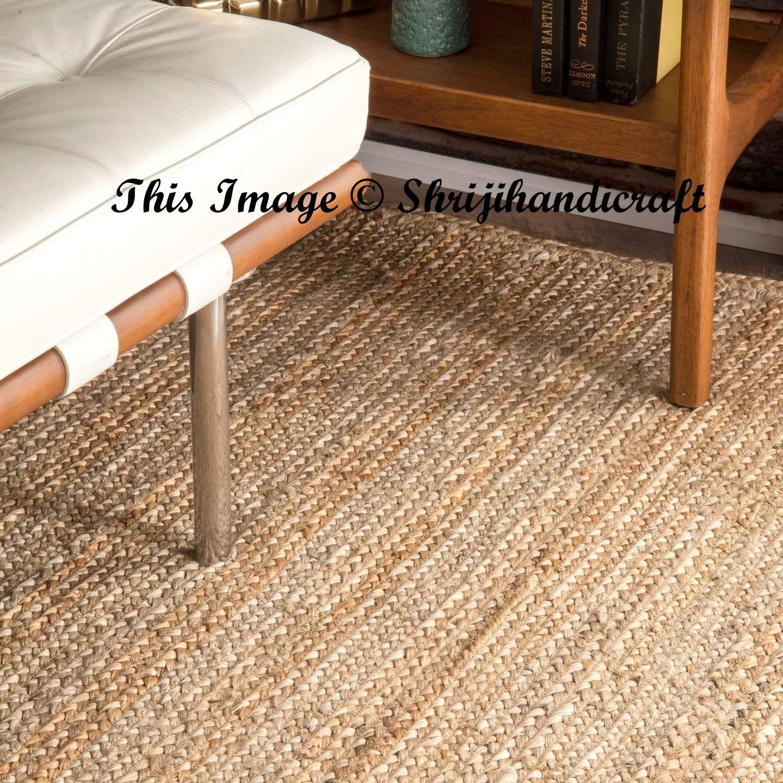 Rug Indian Braided Floor Rug Handmade Jute Rug Natural Jute Rug
