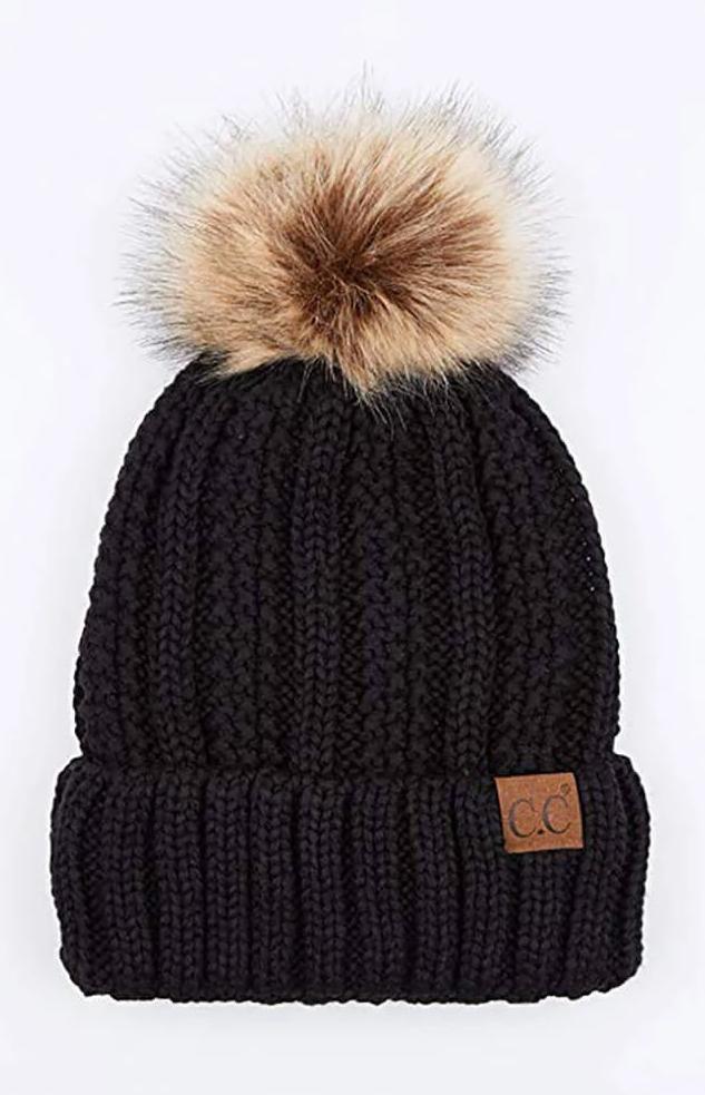 CC Beanie Fuzzy Lined Fur Pom Beanie in Black #beanies