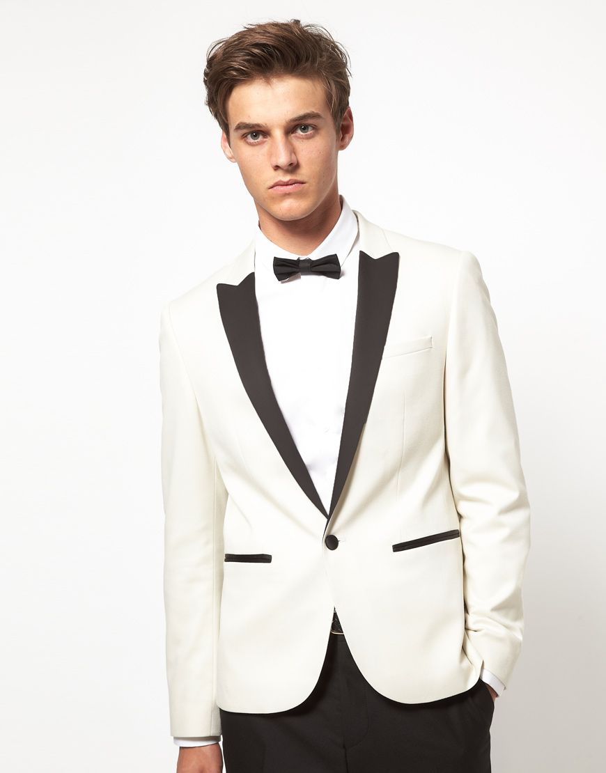 ASOS Slim Fit Tuxedo Suit Jacket In White | Prom | Pinterest ...